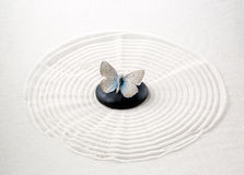 Zen stone with butterfly. On sand Stock Photography