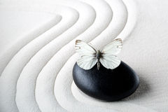 Zen stone with butterfly Royalty Free Stock Image