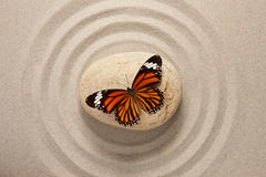 Zen stone with butterfly royalty free stock photo