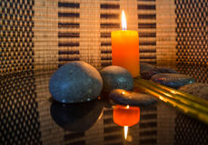 Zen Stone and Candle II Royalty Free Stock Images