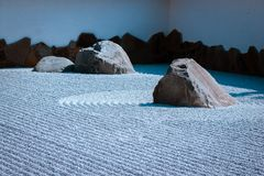 Zen stone garden in the Japanese gardens in Grand Rapids Michigan. On a sunny May day royalty free stock photography