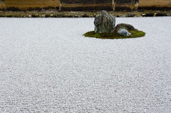 Zen Stone Garden at Ryoanji Temple, Kyoto Stock Photo