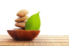 Zen stone with leaf Royalty Free Stock Image