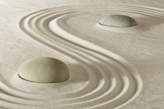 Zen stone meditation garden. Zen stone garden meditation rock for balance purity and serenity in relaxation. Tao buddhism, spa wellness treatment Royalty Free Stock Image
