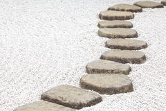 Zen stone path. In a Japanese Garden Stock Image