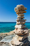 Zen stone pyramid. Pyramid made from sharp stones Royalty Free Stock Photography