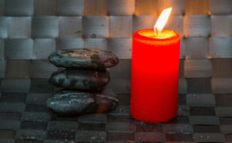 Zen Stone and Red Candle I Stock Images