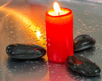 Zen Stone and Red Candle IV Stock Photo