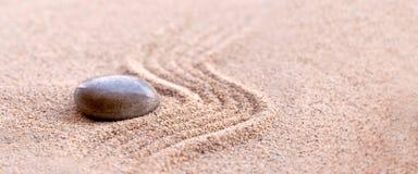 Zen stone and sand, panoramic still life