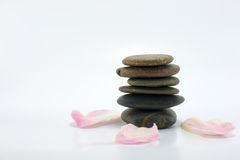 Zen Stone Spa Concept. Close up of stone and flowers represent of spa concept royalty free stock images