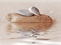 Zen stone stack, water reflections Royalty Free Stock Photos