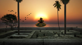 Zen. Stone and summer sunset Stock Photography