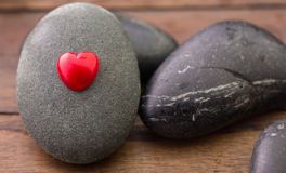 Zen Stone and Valentine Heart  Stock Photos