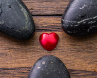 Zen Stone and Valentine Heart  Royalty Free Stock Photo