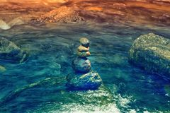 Zen stone in water , meditation  sign. Zen stone in water , meditation and peacful sign Stock Image