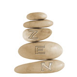 Zen stones. Stones with letters zen on a pure white background Royalty Free Stock Images