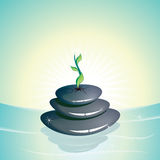 Zen stones. Tranquil scene with zen stones on water pool royalty free illustration