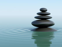 Zen Stones. Balancing Zen Stones on turquoise water with waves royalty free illustration