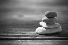 Zen stones. In black and white creating an interesting background Royalty Free Stock Photo