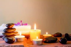 Zen stones and aromatic candles on table,Zen concept Royalty Free Stock Photo