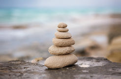 Zen stones, background the ocean for the perfect meditation Stock Photography