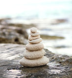 Zen stones, background ocean, see, place  for the perfect meditation Royalty Free Stock Photos