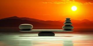 Zen stones scales on sunset background. 3d illustration vector illustration