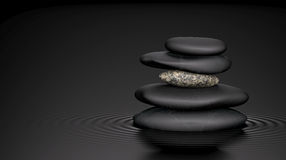Stones & Ripples. Balanced stack of stone in water Stock Photo
