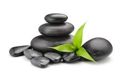 Zen stones and bamboo on the white. Zen basalt stones and bamboo on the white bacground stock images