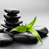 Zen stones. Zen basalt stones and bamboo on the black Royalty Free Stock Photography