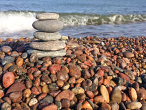 Zen stones on the beach Royalty Free Stock Photography