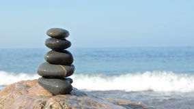 Zen stones on a beach stock footage