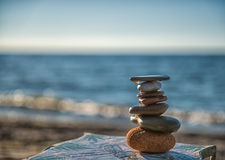Zen Stones At Beach Stock Photo