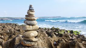 Zen stones on beach for perfect meditation Royalty Free Stock Photography