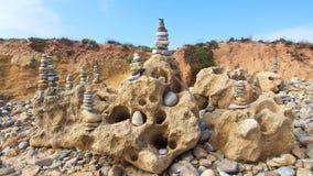 Zen stones on beach for perfect meditation Stock Photo