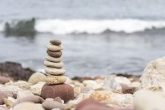 Zen stones on the beach. In winter. lovely place stock image