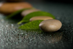 Zen stones on black with water drops Royalty Free Stock Photography