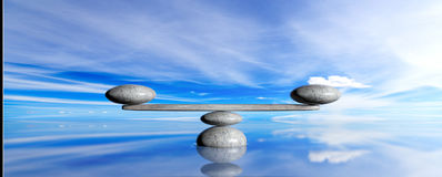 Zen stones on a blue sky and sea background. 3d illustration Stock Image