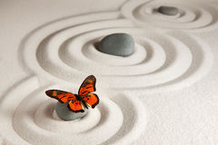 Zen stones with butterfly Stock Image