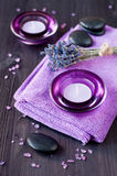 Zen stones, candles and lavender for the spa. Stock Images