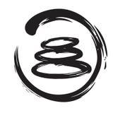 Zen Stones Circle Ink Brush Vector. Painting Royalty Free Stock Image