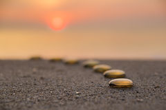 Zen stones composed like a line Royalty Free Stock Photography
