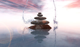 Zen stones. Concept in 3d Royalty Free Stock Images