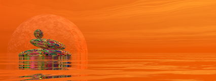 Zen stones - 3D render. Zen stones upon water in red background with rays and full moon - 3D render Stock Image