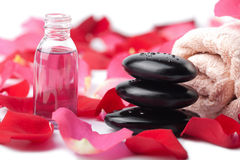 Zen stones, essential oil and rose petals isolated Royalty Free Stock Image