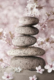 Zen. Stones with flowers and sand Stock Photo