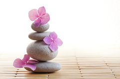 Zen stones and flowers Royalty Free Stock Photos