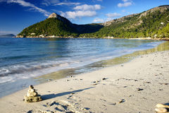 zen stones in formentor beach in Majorca Royalty Free Stock Photo