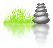 Zen stones and grass background Stock Images