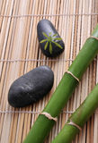 Zen stones and green bamboo. In the water royalty free stock photography